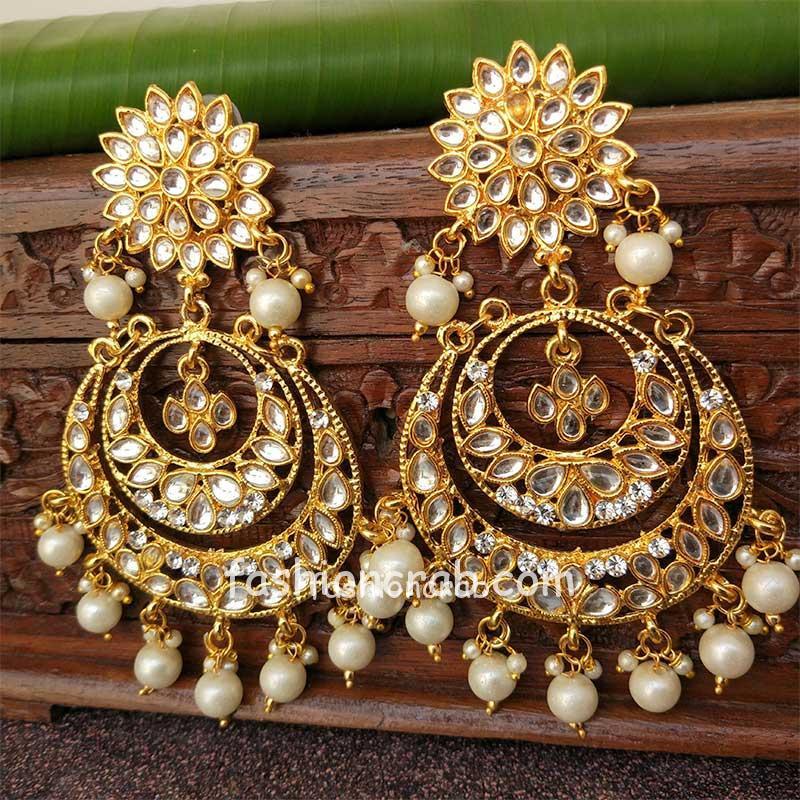 Beautiful Kundan Chandbali Earring for Lehenga