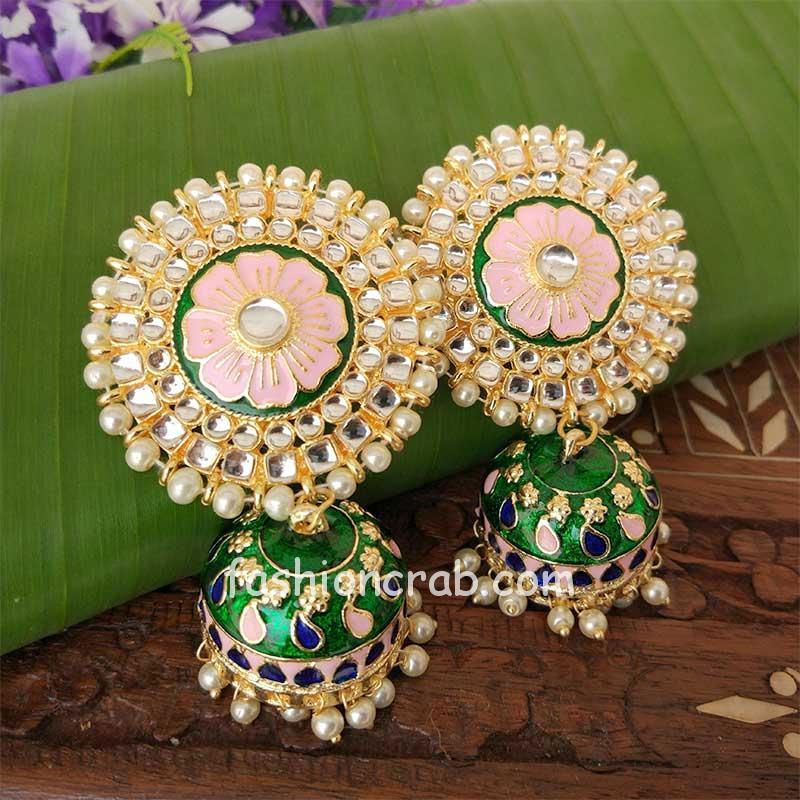 Green Jhumka Earring for Wedding