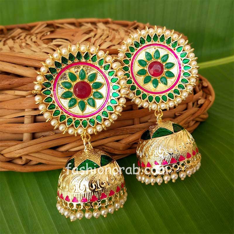 Green Kundan Meenakari Big Size Jhumka Earring