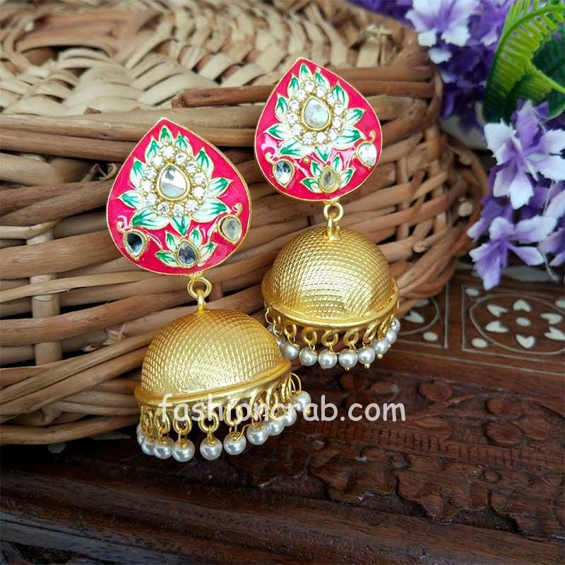 Indian Traditional Dark Pink Meena Jhumki Jhumka Earrings