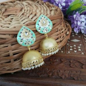 Indian Traditional Sea Green Meena Jhumki Jhumka Earrings