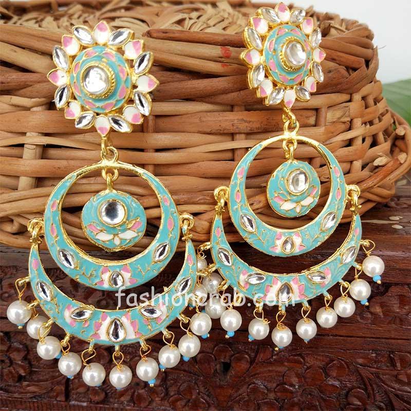 Light Blue Meenakari Chandbali Earring