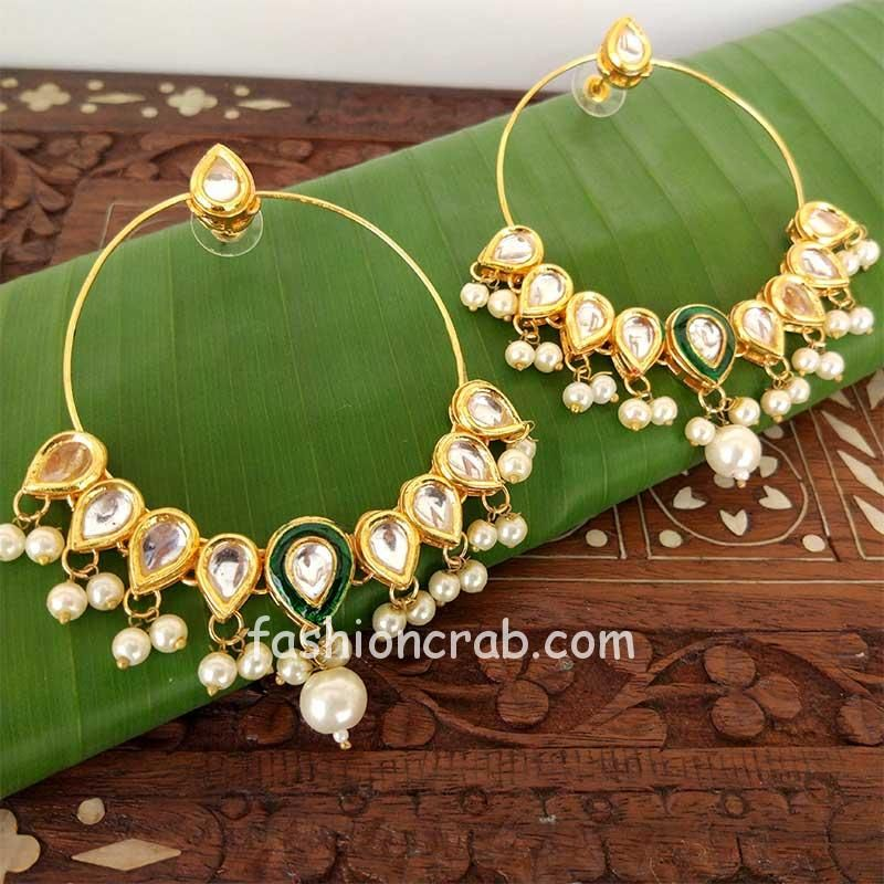 Mughal Inspired Traditional Indian Kundan Hoop Earrings