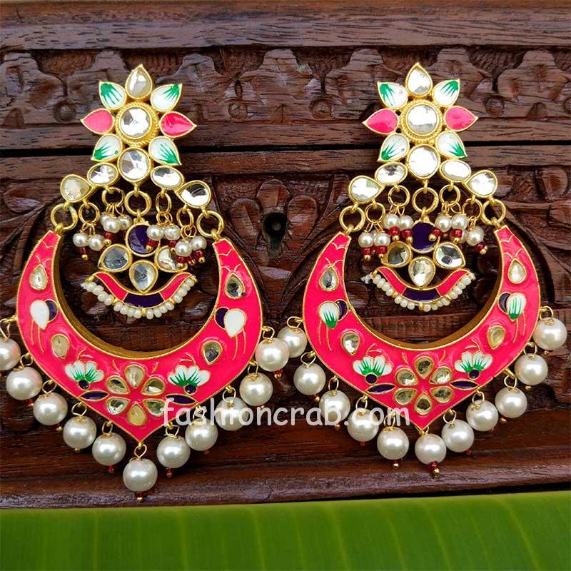 Neon Dark Pink Meenakari Chandbali Earring