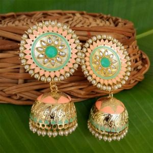 Pastel Orange Kundan Meenakari Big Size Jhumka Earring