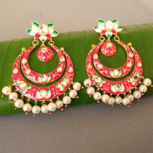 Pink Lotus Design Meenakari Earrings