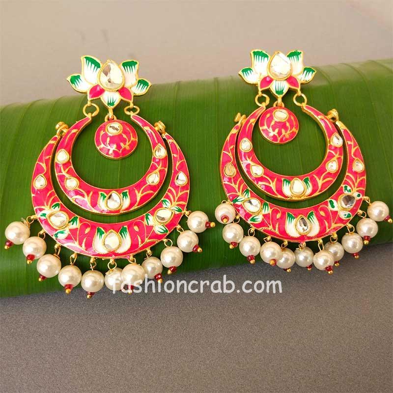 Pink Lotus Design Meenakari Earrings