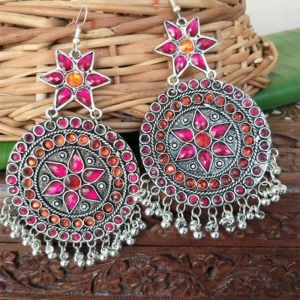 Pink Orange Stone Oxidised Chandbali Earrings