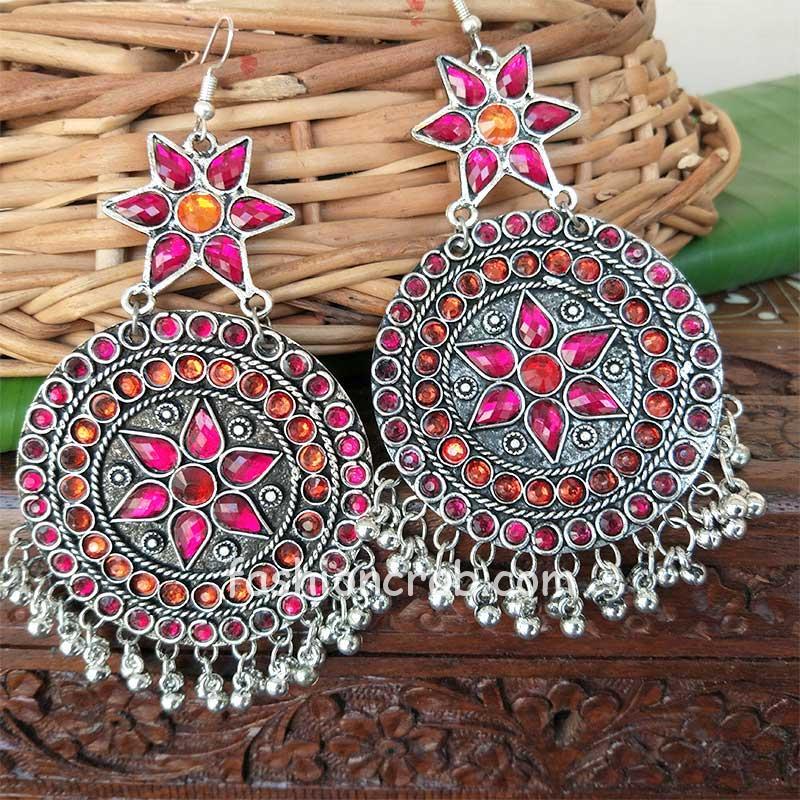 Pink Orange Stone Oxidised Chandbali Earrings
