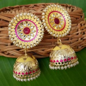 Yellow Kundan Meenakari Big Size Jhumka Earrings
