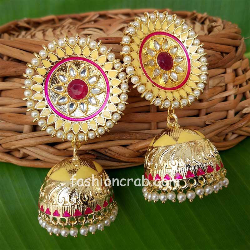 Yellow Kundan Meenakari Big Size Jhumka Earrings