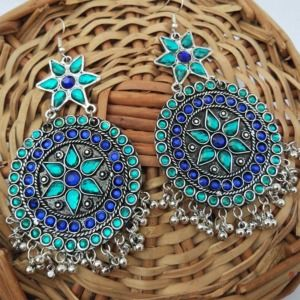 Blue Green Stone Oxidised Chandbali Earrings