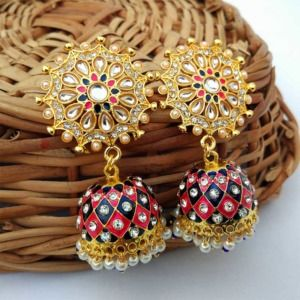 Dark Blue and Pink Hand Painted Elegant Statement Jhumka Earrings