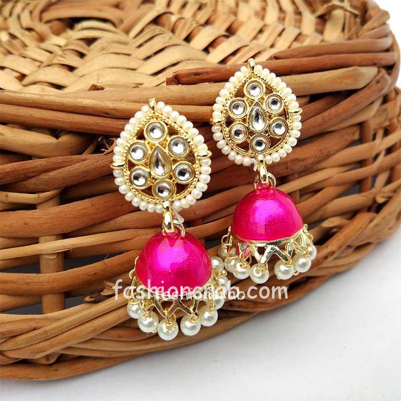 Dark Pink Small Jhumka Earrings for Women