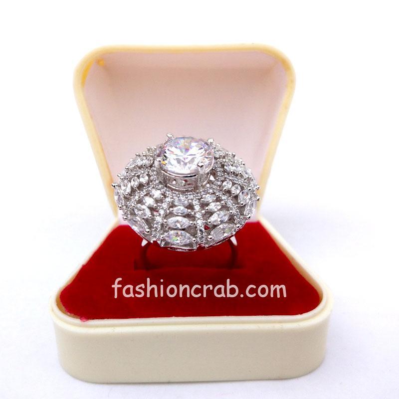 Designer Cubic Zirconia Adjustable Wedding Ring for Ladies