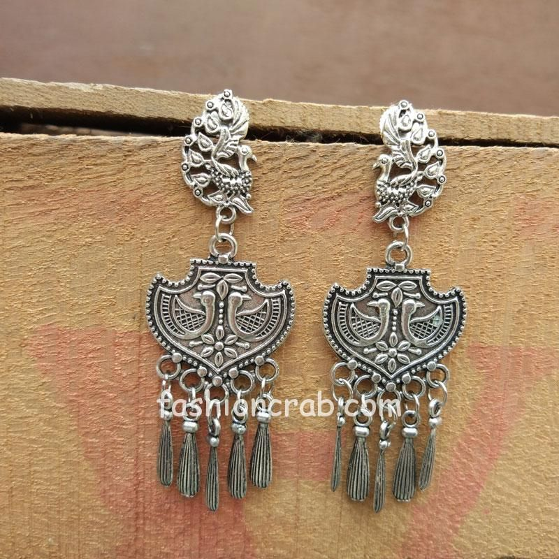 Oxidized Silver Peacock Earring for College