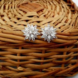 Floral Cubic Zirconia Stud Earring