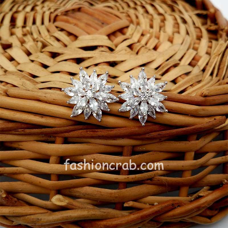 Floral Cubic Zirconia Stud Earring