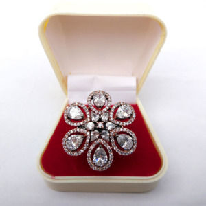 Flower Shaped Adjustable Cubic Zirconia Ring for Party