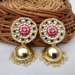 Gold-Toned Pink Enamel Jhumka for Saree