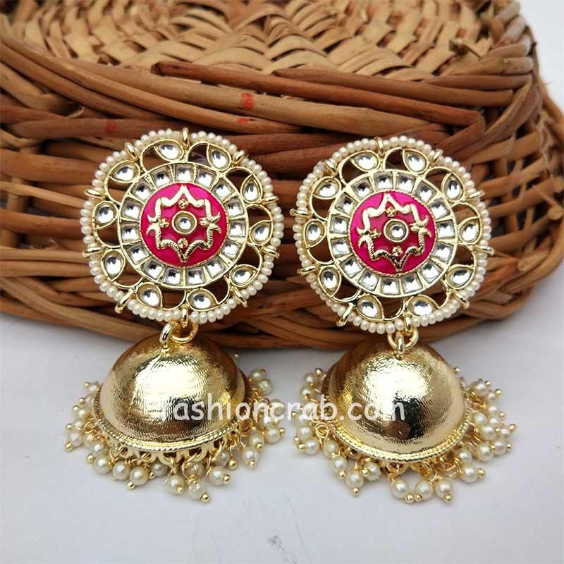 Gold-Toned Pink Enamel Jhumka for Saree
