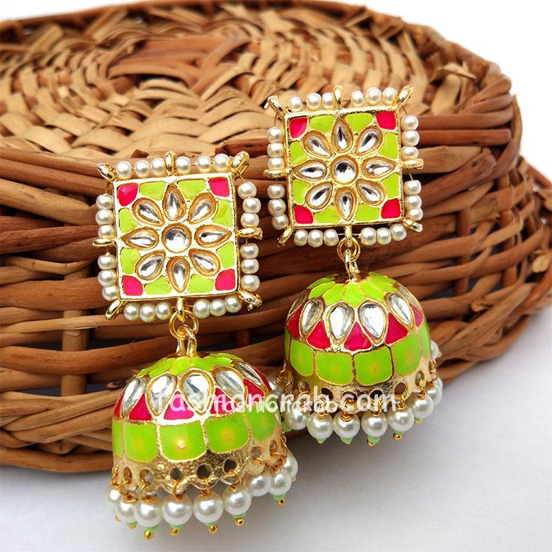 Green Enamel Ethnic Jhumka Earring for Lehenga