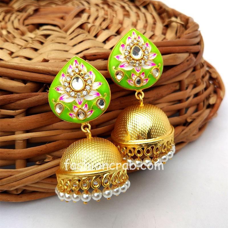 Indian Traditional Light Green Meena Jhumki Jhumka Earrings