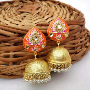 Indian Traditional Orange Meena Jhumki Jhumka Earrings