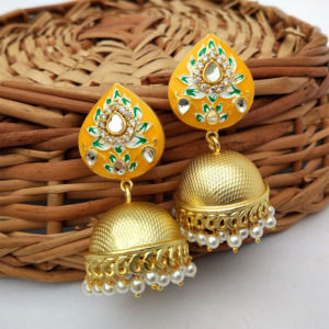Indian Traditional Yellow Meena Jhumki Jhumka Earrings