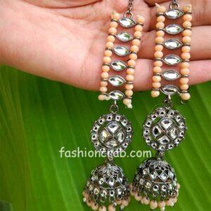 Light Orange Beads Contemporary Statement Jhumka Earrings