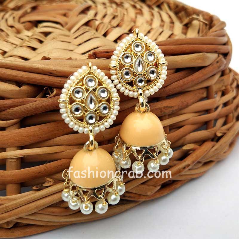 Light Orange Small Jhumka Earrings for Women