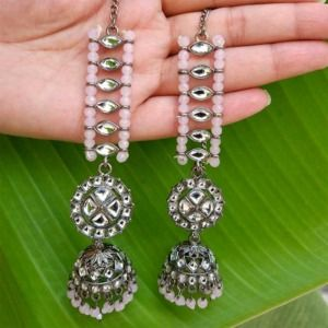 Light Pink Beads Contemporary Statement Jhumka Earrings