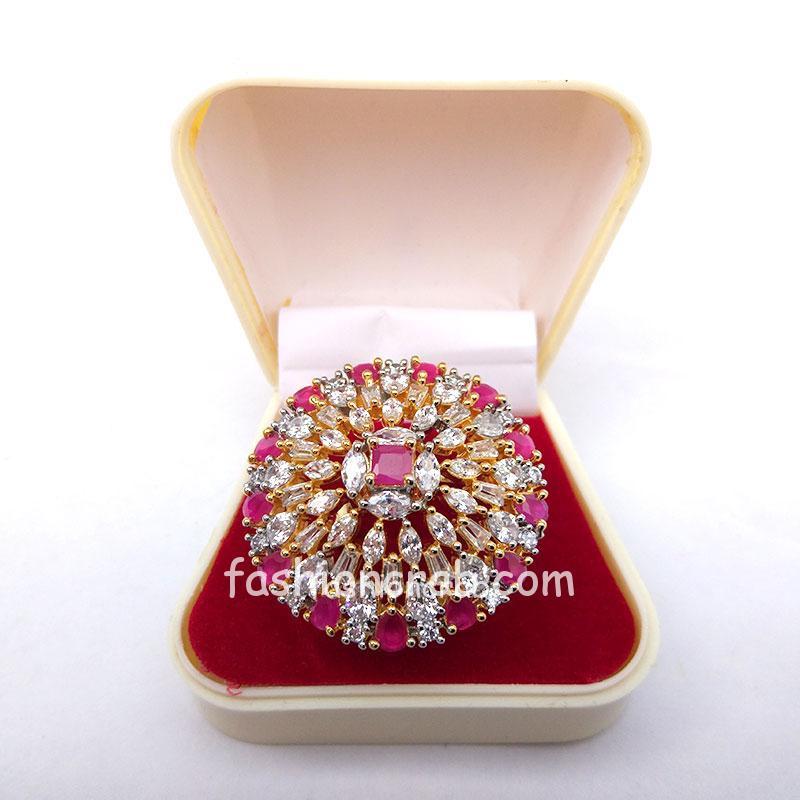 Pink Stone Women Finger Ring