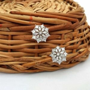 Silver-Toned Rhodium-Plated Cubic Zirconia Flower Shaped Studs