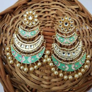 Three Layer Sea Green Meenakari Kundan Chandbali Earring