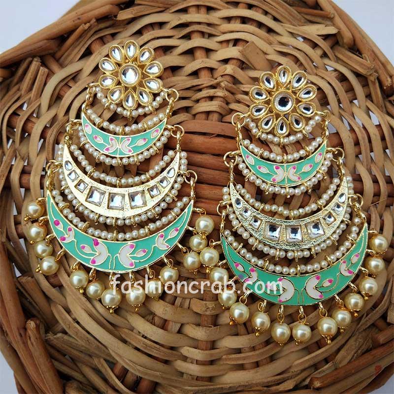 Three Layer Sea Green Meenakari Kundan Chandbali Earring