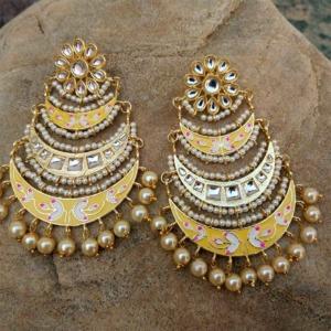 Three Layer Yellow Meenakari Kundan Chandbali Earring