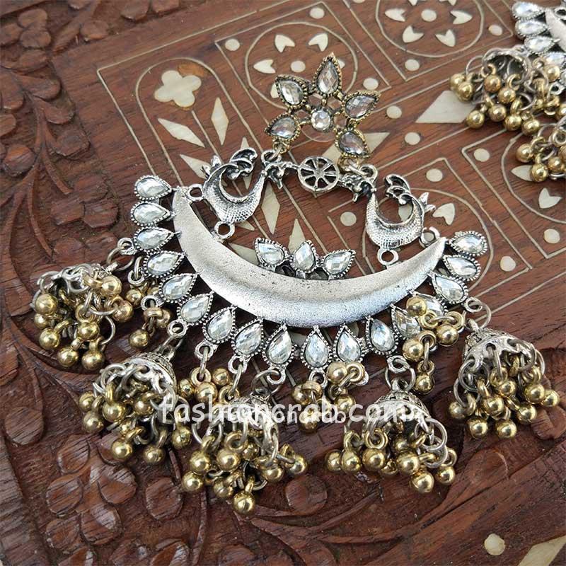 Dual Tone Oxidized Silver Chandbali Earring