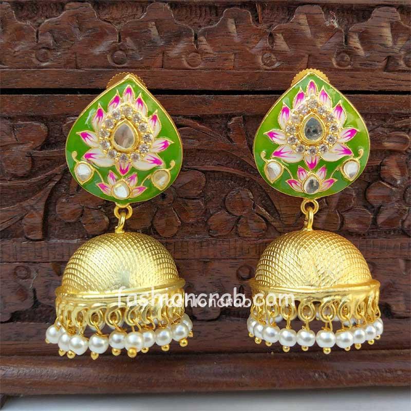 Indian Traditional Dark Green Meena Jhumki Jhumka Earrings