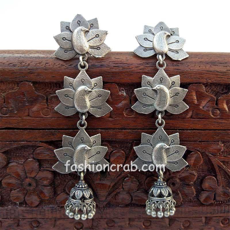 Long Oxidised Silver Toned Jhumka Earring