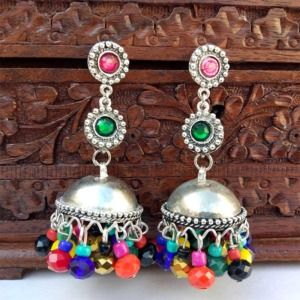 Multicolor Beads Jhumka Earring for Garba