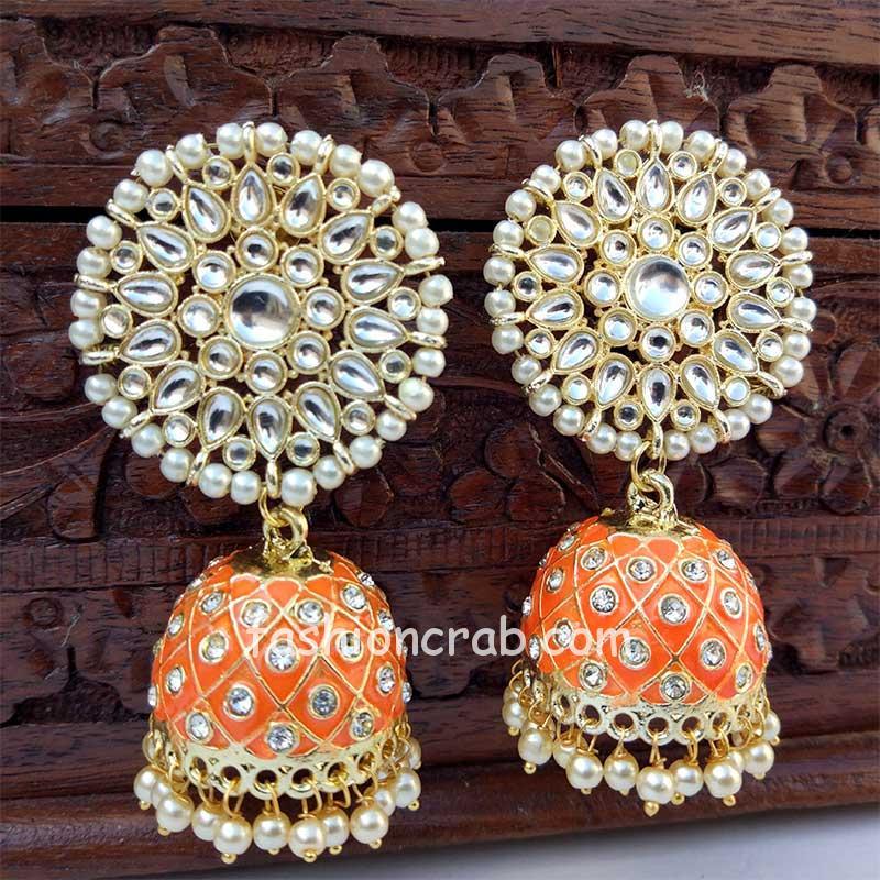Orange Traditional Jhumka Earring for Wedding