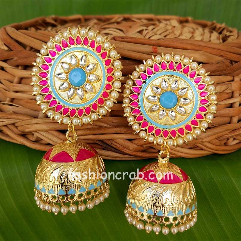 Pink Kundan Meenakari Big Size Jhumka Earring