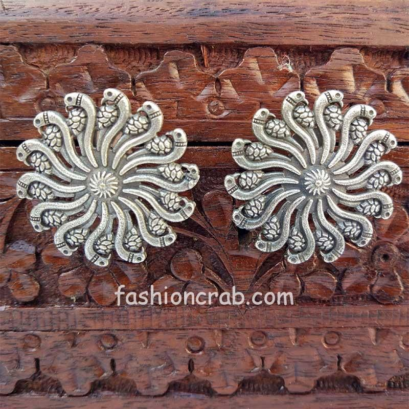Traditional Floral Oxidised Studs