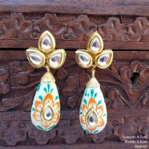 HandPainted Kundan Small Drop Earring