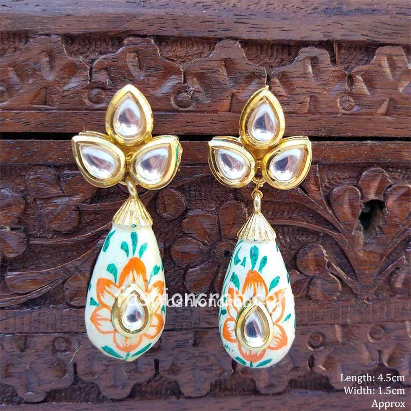 HandPainted Kundan Small Drop Earring