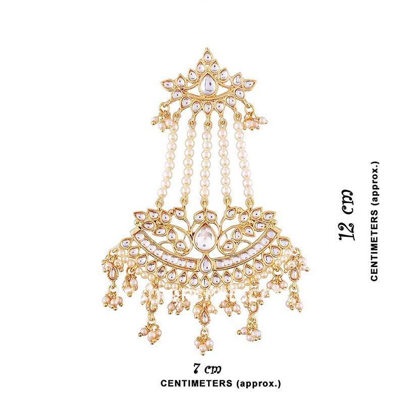 Traditional Gold Toned Kundan & Pearl Earring for Lehenga