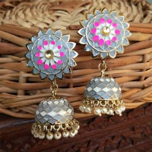 Grey Enamel Jhumka for Lehenga Choli