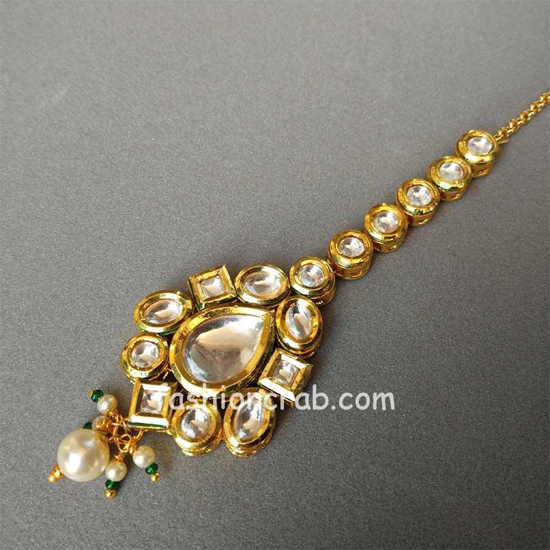 Kundan & Pearl Embellished Handcrafted Maang Tikka