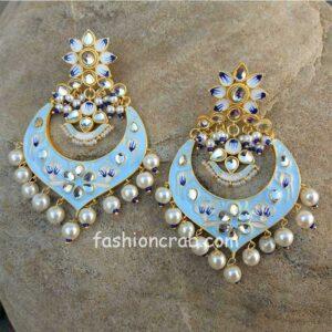Light Blue Meenakari Chandbali Earrings